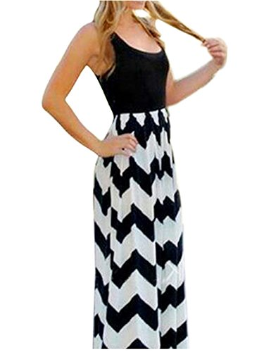 Shinekoo®Femme Longue Robe Sans Manches Maxi Rayures Taille Haute Mince Robe de Bohême Black