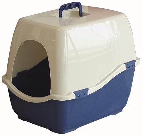 Marchioro Bill 1S Covered Cat Litter Pan, Small/Medium, Tan/Blue