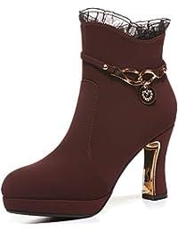 Hyy Botines para Mujer, otoño Invierno Botas Cortas de Martin Botas de Encaje Zapatos de Mujer de Estilo británico Botas de Mujer (Color : Segundo, tamaño : 40)