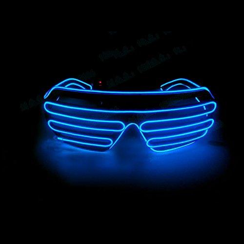ür Kinder Erwachsene, evary EL Draht LED Light Up Gläser mit Sprachsteuerung für Konzert DJ Disco Club Bar Halloween Weihnachten Festivals 3Modi blau (El-draht-gläser)