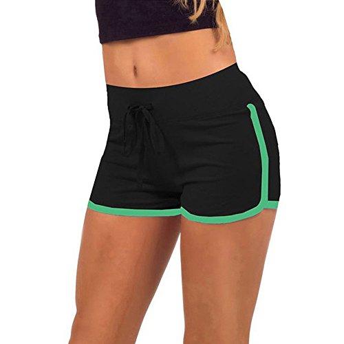 Kingko® Loaded Sommer High Taille Freizeit Sport Shorts Sportswear Dies ist die beste Wahl (L, Schwarz) (Cuffed Hose Wolle)