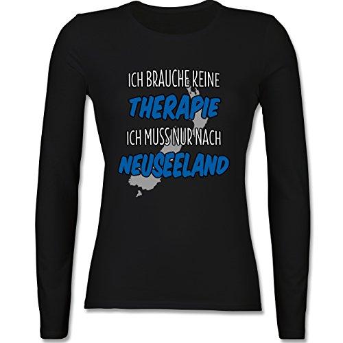 Länder - Ich brauche keine Therapie ich muss nur nach Neuseeland - tailliertes Longsleeve / langärmeliges T-Shirt für Damen Schwarz