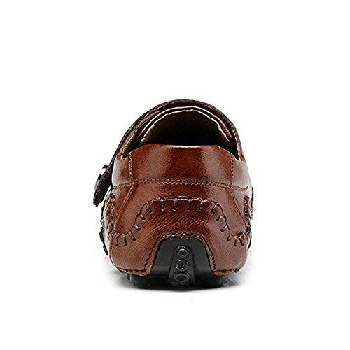 SGoodshoes Herren Schuhe Business Leder Slipper Loafer Elegant Flache Bootsschuhe Braun