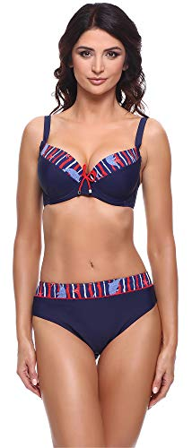 Merry Style Damen Bikini Set P63581 (Marine Blau/Rot, Cup 95 C/Unterteil 46) -