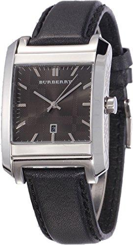 Burberry Heritage BU1571 - Reloj de pulsera para hombre, unisex, cuadrado, correa de piel negra, esfera con fecha grabada, color gris