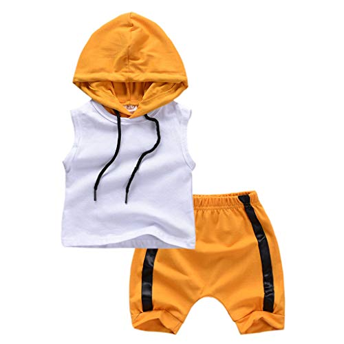 en Kinder Baby Junge Outfits Set Kleidung Säuglings Kind Kapuzenweste Tops Shorts Ärmelloses T-Shirt Bluse Baumwollmischung Cool Mode Babykleidung (0M-3Y) ()