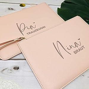 Geschenk Trauzeugin Brautjungfer Braut beste Freundin Mama - personalisierte Tasche Clutch rosa