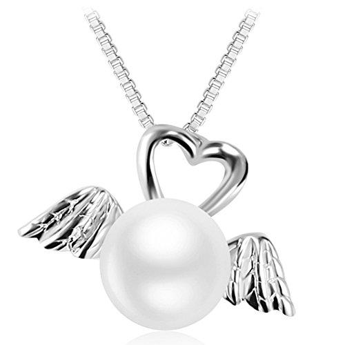 Jiuta ciondolo cigno in argento 925 con la perla bianca