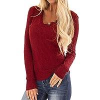 Yvelands El suéter elástico sólido de la Camisa de la Blusa de la Manga Larga del V-Cuello de Las Mujeres de la liquidación Remata