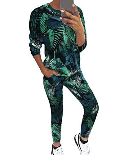 Tomwell Damen Mode Trainingsanzug Frauen Drucken Lange Ärmel Shirt Top + Lange Hose Sportswear 2 Stück Set Sport Yoga Outfit Grün DE 40