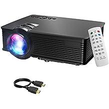 Mpow Projecteur LCD Mini Théâtre Domestique Multimédia Portable Avec USB SD HDMI VGA pour Cinéma d'Arrière-cour, de Film et de Jeu vidéo avec Feuille d'Essuyage et Câble HDMI
