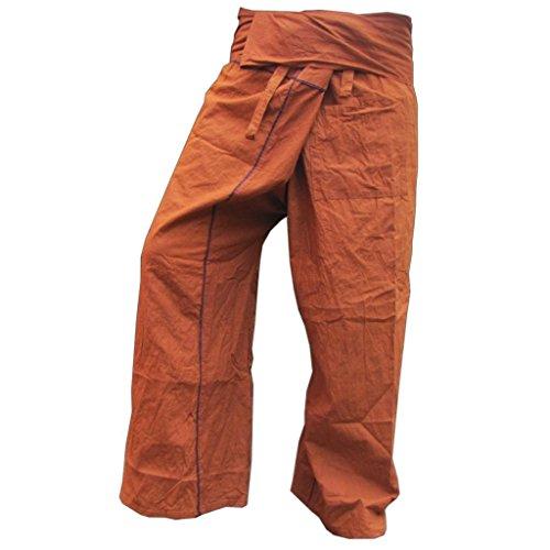 Panasiam Thai Fisherman Pantalon en coton véritable solide avec poche Taille: S-XL (de 160à 195cm) 5couleurs différentes -  marron - L