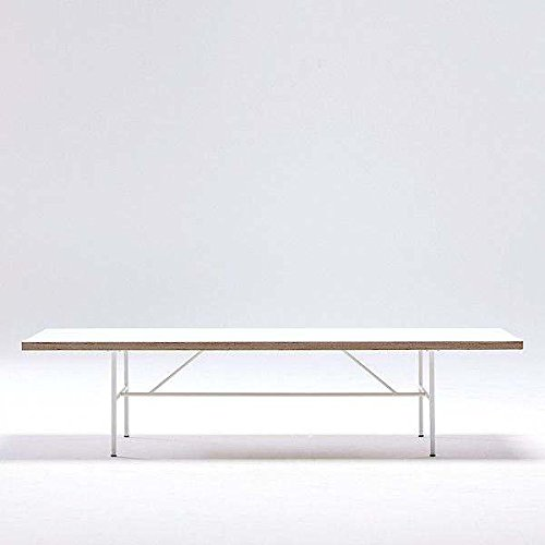 La Table basse SARA par HAY : le design nordique pur et simple - Stratifié blanc, chants en multiplis, piétement laqué Blanc Epoxy