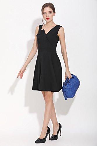Katloo Damen Leder Schultertasche Kleine Handtasche Umhängetasche mit Niet und Viele Reißverschluss Fächer (Schwarz) Schwarz
