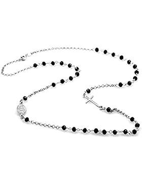 Rosenkranz-Halskette in 925er Silber mit schwarzen Perlen, 47cm