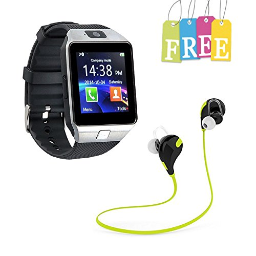 2ccfc4b746f Piqancy Bluetooth DZ09 SmartWatch Phone Support SIM TF Card with Camera for  Android IOS iPhone Samsung LG Phones (Silver) + Free Wireless Bluetooth  Jogger ...