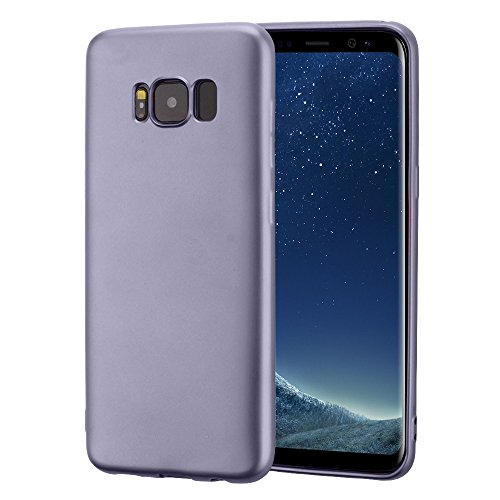 Vanki® Samsung Galaxy S8 Custodia Ultra Sottile TPU Silicone Protettivo Skin Case Cover Bumper Anti-Scratch Copertura Della Protezione Anti-urto shell purple gray