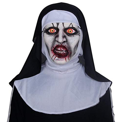 The Nun Scary Mask The Conjuring 2 Cosplay Valak Horrible Latex Masks with Headscarf Full Face Helmet Halloween Latex Scary Mask,as The Picture (2 Movie Full Halloween)