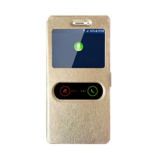 OPPO R7 Hülle, CaseFirst Leder Handyhülle Stoßfest Schutzhülle Brieftasche Hülle Magnet Cover Geldbörse Hülle Anti-kratzer PU Leather Wallet Case mit Supporter (Golden)