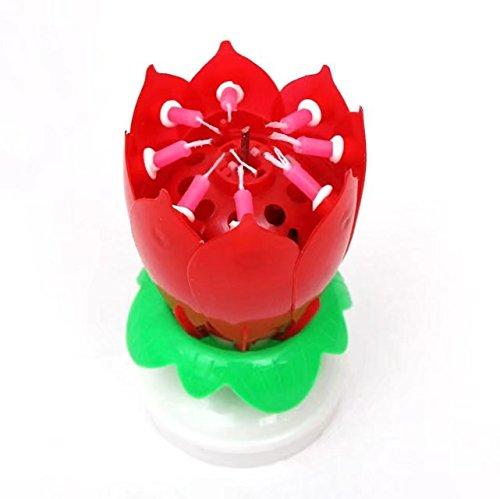 Velas con música con diseño de una flor de loto.