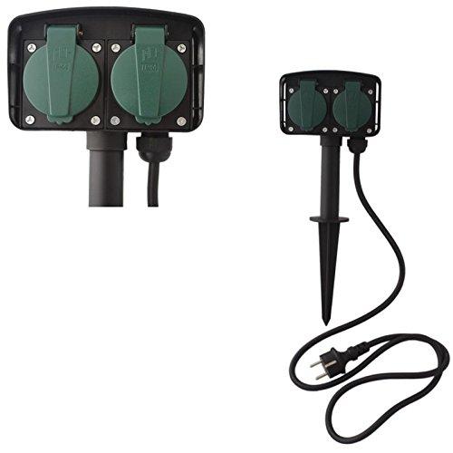 Preisvergleich Produktbild Doppel Camping Gartensteckdose Steckdose Steckdosenleiste Steckerleiste Außensteckdose mit Erdspieß