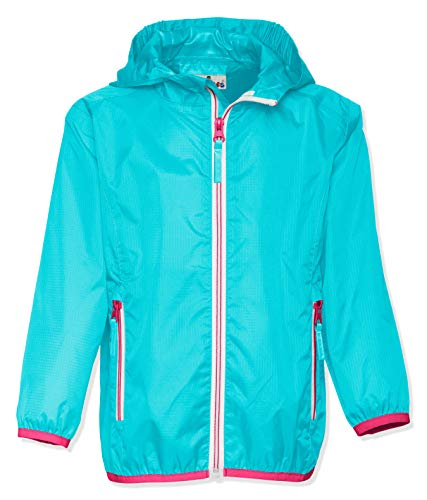 Playshoes Kinder Regenjacke mit Kapuze, faltbare Funktions-Jacke für Mädchen und Jungen , Türkis (Türkis 15) , 104 - Mädchen Baby Jacke Kapuzen
