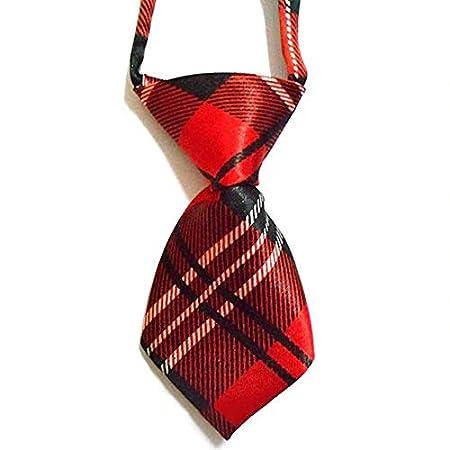 EROSPA® Krawatte Halsbinde Schlips – Hund Katze – rot/schwarz/weiß
