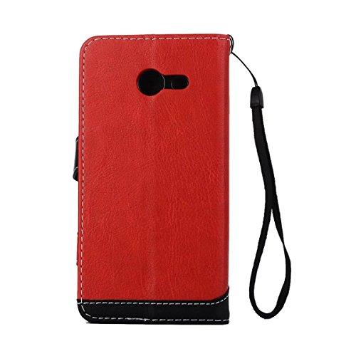 Bookstyle Horizontale Flip Stand Case Litchi Texture Dual Farbe genäht PU Leder Tasche mit Lanyard & Niet Button für Samsung Galaxy J5 2017 ( Color : Red ) Red