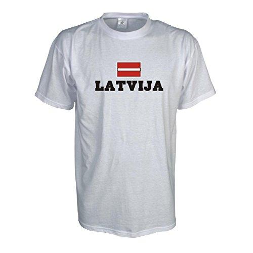 T-Shirt Lettland LATVIJA Flagshirt bedrucktes Fanshirt, Flagge und Schriftzug Geschenk Andenken für Besucher Gäste Fans (WMS02-37a) Mehrfarbig