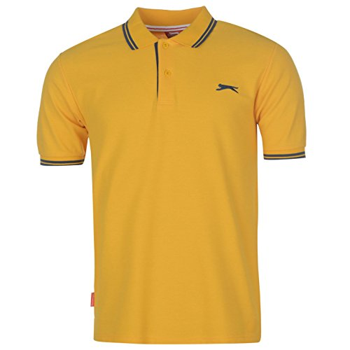 Slazenger Herren Polo Shirt Kurzarm Streifen Details Gelb S