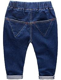 EOZY Jeans Pantalon pour Petit Garçon Casuel Ajustable en Oxford Bleu Simple