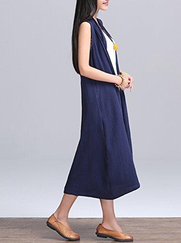 Vogstyle Femme Solides manches longues Cardigan Couleur Avec Side Pockets Trench Coat Style 2 Bleu