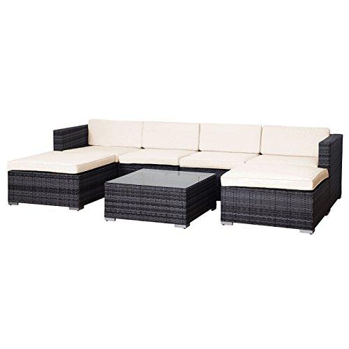 Svita Lugano POLY RATTAN Lounge Garten-Set XXL Sofa-Set Garnitur Gartenmöbel Couch-Set (XXL, Grau)