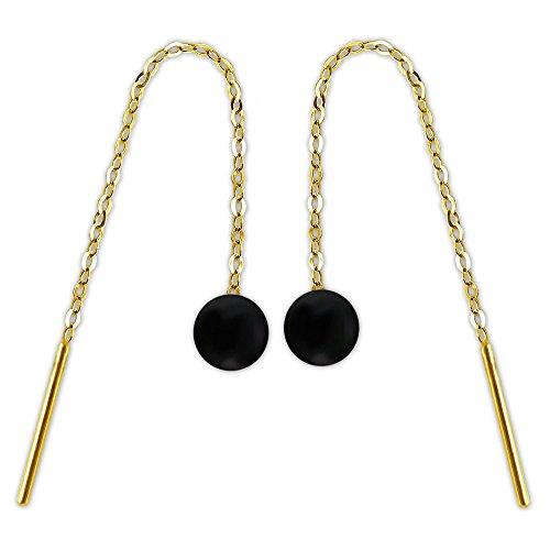 CLEVER SCHMUCK Goldene Ohrdurchzieher mit Edelstein Onyx Kugel schwarz am Ankerkettchen 333 GOLD 8 KARAT