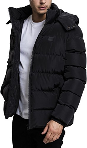 Urban Classics Herren Jacke Hooded Puffer Jacket, Schwarz (Black 7), Medium