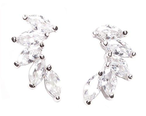 Happiness Boutique Damen Ohrringe mit Zirkon | Statement Ohrstecker in Silberfarbe Spike Design nickelfrei