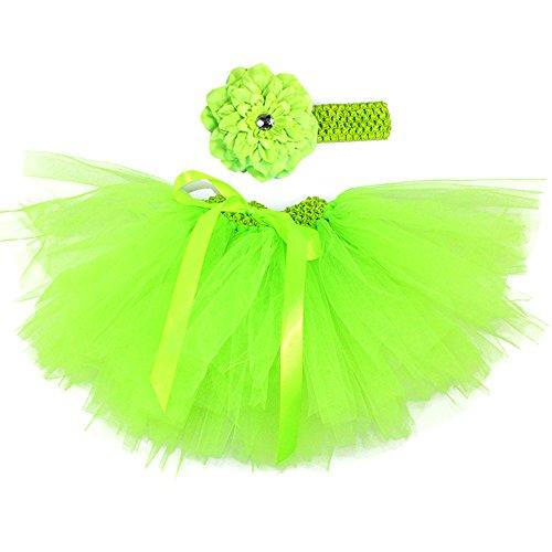 Honeystore Baby Fotoshooting Kostüm Haarbänder Rock Set Foto Outfit Stirnbänder Farbenfroh Tütü Balletrock Mini Unterrock Fotografie Verkleidung One Size Grün mit Päonien
