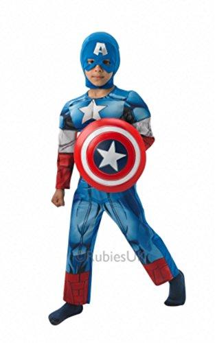Imagen de boy muscular de los vengadores capitán américa disfraz plus escudo tamaños s, m & l