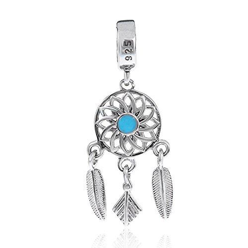 Abalorio de plata de ley 925 con diseño de ala de ángel para pulsera Pandora, diseño de atrapasueños A