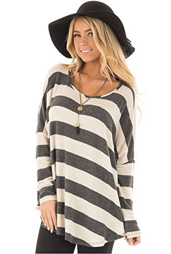 Cnfio Women's Long Sleeve O Neck Loose Fit Oversized Stripe T Shirt Tee Tunic Tops Blouses