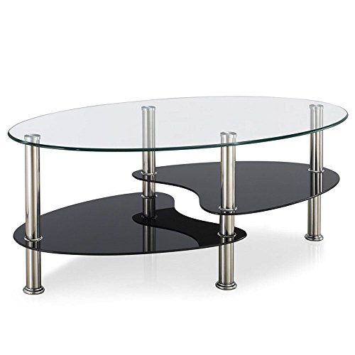 Home Discount Cara Glass Coffee Table, Clear amp; Black Oval Stainless Steel Legs Modern