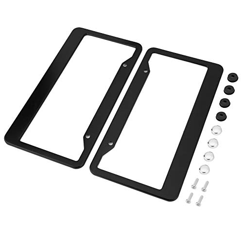 License Plate Frame Holder (HoganeyVan 2pcs Black Aluminum Alloy Car Auto Vehicles License Plate Frame Tag Cover Holder with Screw Caps Car Styling)