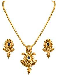 JFL - Traditional Ethnic One Gram Gold Plated Kundan Stone Designer Pendant Set With Earring For Women And Girls