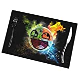 Hectwya A Cute Comic Version of The EarthPlacemats, Washable and Easy to Clean Polyester Fiber Kitchen Anti-Fouling Placemats for Dining Table Set of 6