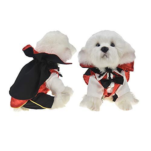 FLAdorepet Cool Hund Halloween Kostüm Outfits Vampir Umhang und Zauberer Anzug Set für Party, Hochzeit, Urlaub (Kostüme Vampir Für Hunde)
