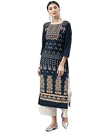 Vaamsi Women's A-Line Kurta (VPK1496_S_Blue_small)