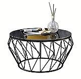 WXiaJ-Kaffetisch Runde Schmiedeeisen Glas Couchtisch Wohnzimmer Balkon Moderne minimalistische Möbel (60 × 60 × 45 cm)
