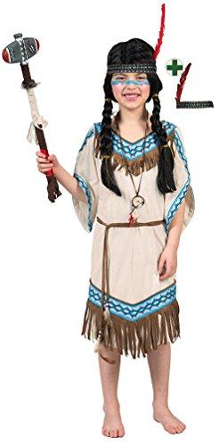 Karneval-Klamotten Indianer Kostüm Kinder Mädchen Indianerin Kostüm Mädchen-Kostüm Squaw Pocahontas beige blau mit Stirnband Karneval Größe 128 (Kostüm Kind Pocahontas)