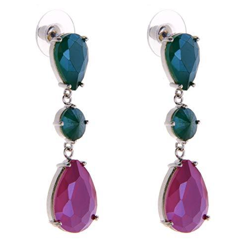 5 - TEMPUS FUGIT. Pendientes Largos. Diseño de joyería de Moda con cristales de colores, Incluye caja para regalo