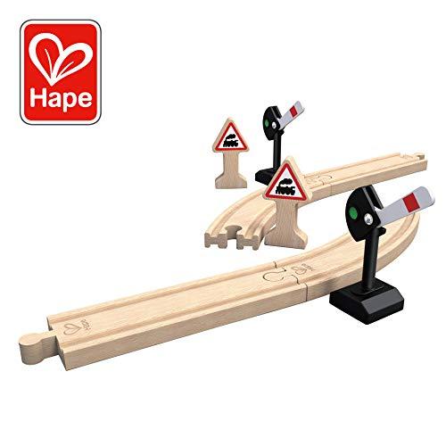 Hape- Circuit de Train en Bois-Panneaux de Signalisation et Rails, E3724